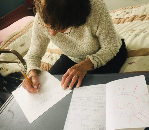 senior writing letter